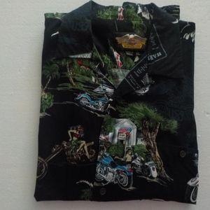 Harley-Davidson Tropical Print Short Sleeve Shirt